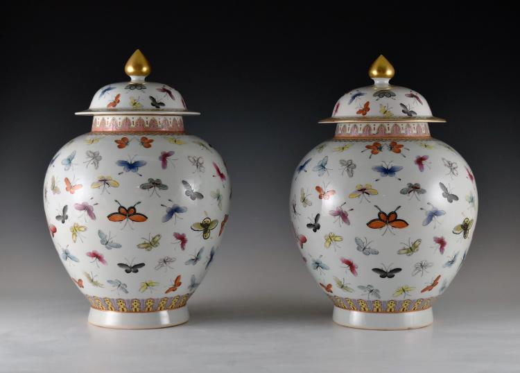PAIR OF GENERAL HELMET HUNDREDS BUTTERFLIES JARS
