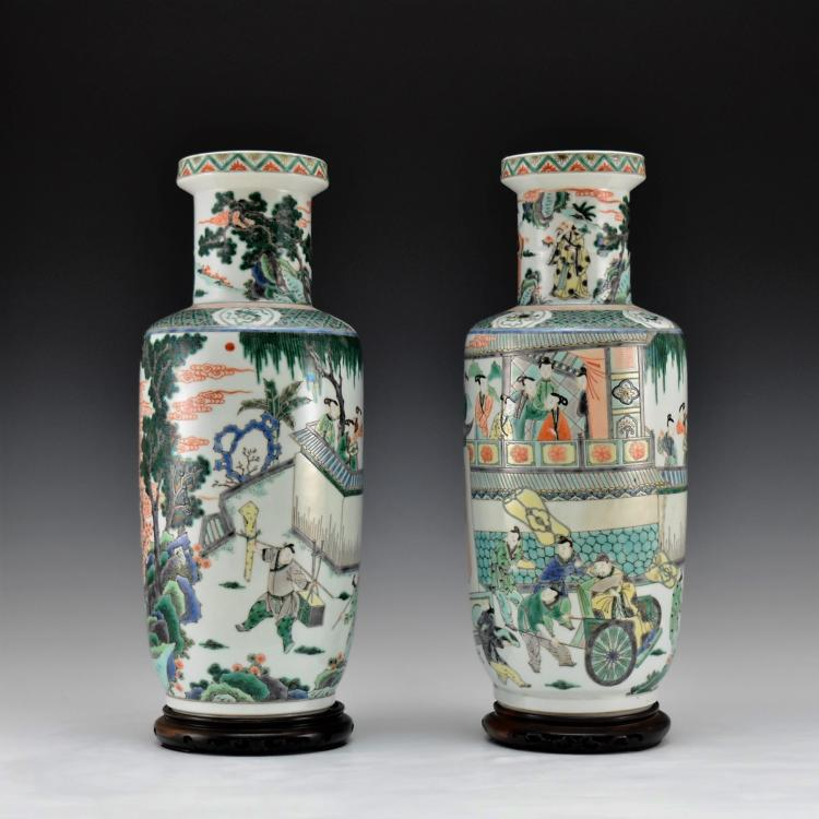PAIR OF FAMILLE ROSE ROULEAU VASES