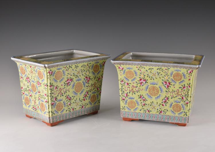 PAIR OF FAMILLE ROSE CHINESE RECTANGULAR PORCELAIN PLANT POT