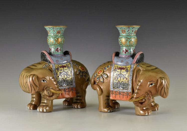 PAIR OF FAMILLE ROSE ELEPHANT PORCELAIN CANDLE HOLDERS