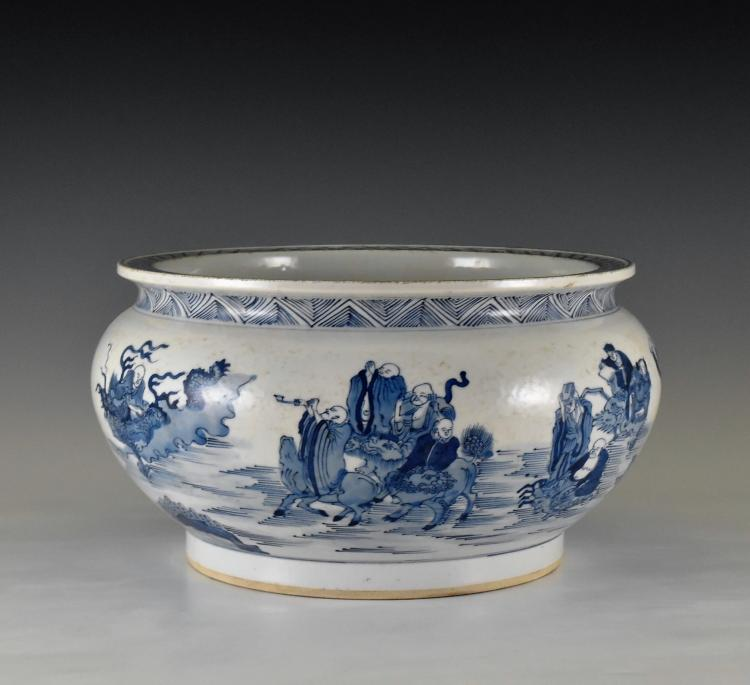 BLUE AND WHITE BASIN WITH IMMORTAL MOTIFS