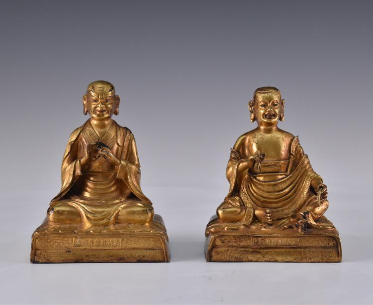 SET OF 2 GILT BRONZE ARHATS, QIANLONG MARK