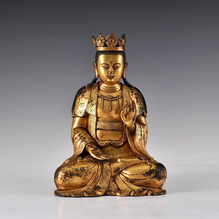 CHINESE GILT BRONZE BUDDHA FIGURE OF BODHISATTVA