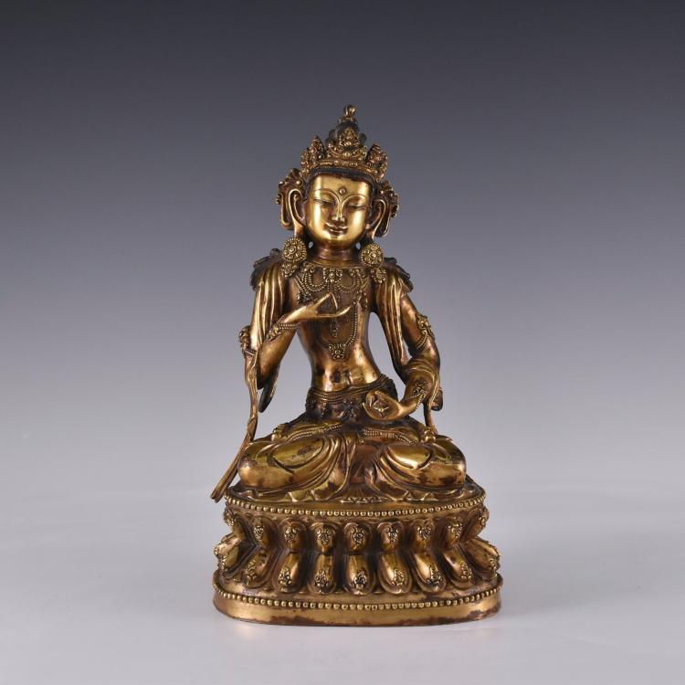 MING GILT BRONZE BUDDHA FIGURE OF TARA