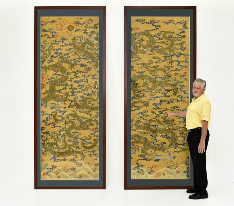 IMPORTANT, RARE, MASSIVE CHINESE DRAGONS SILK KESI
