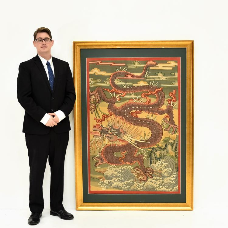 LARGE FRAMED CHINESE DRAGONS SILK KESI