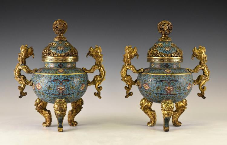 PAIR OF GILT BRONZE & CLOISONNE COVERED TRIPOD CENSERS