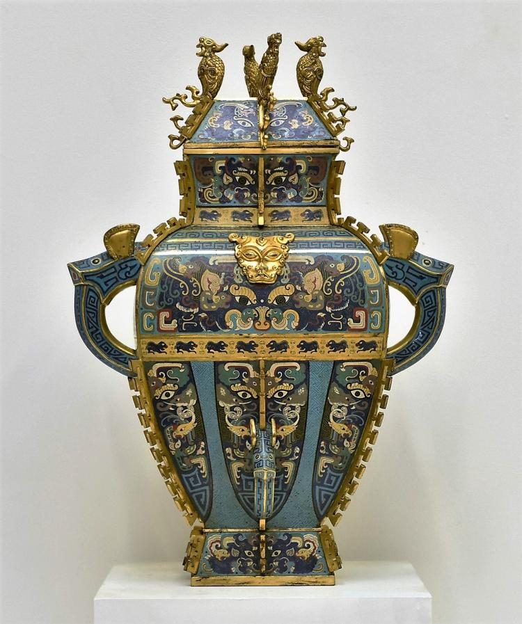 MASSIVE GILT BRONZE CLOISONNE ENAMEL COVERED SQUARE BALUSTER VASE