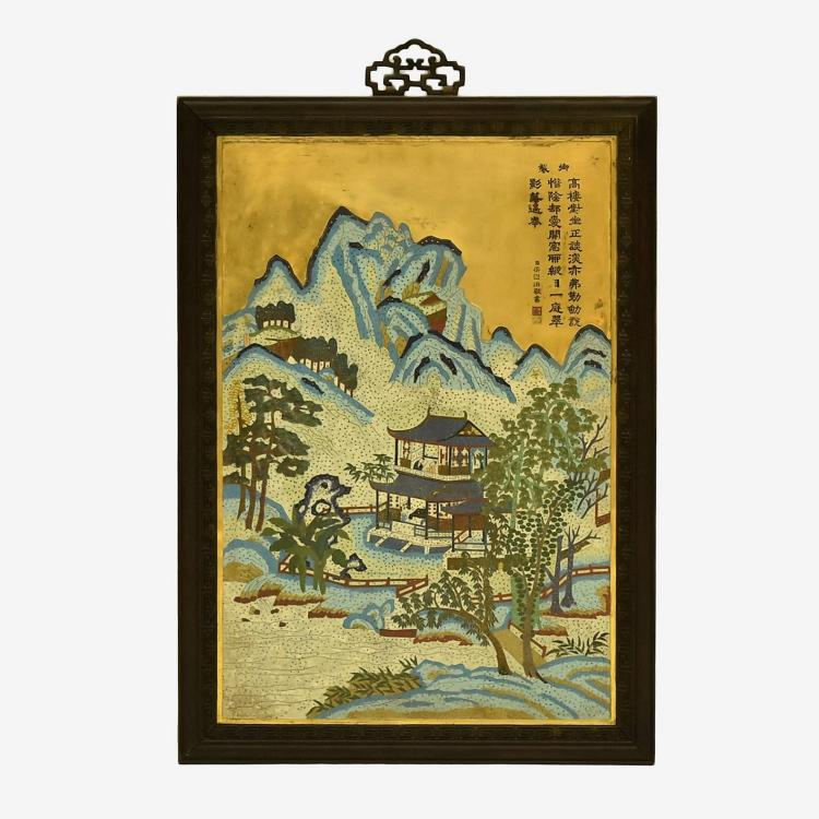 CHINESE GILT BRONZE CLOISONNE ENAMEL WALL PLAQUE