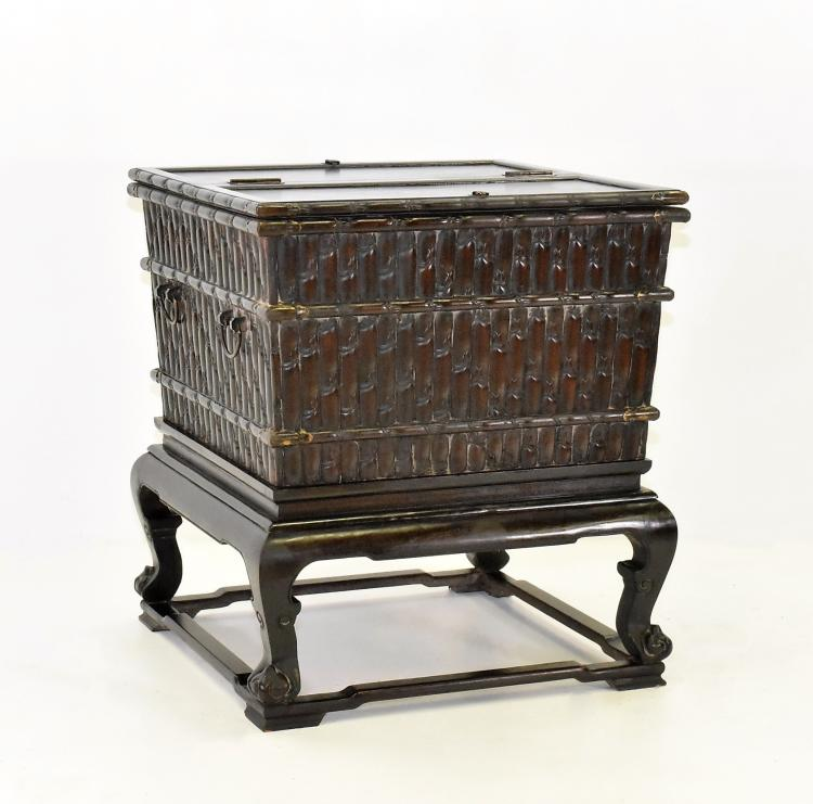 RARE, LARGE ZITAN CHINESE ICE CHEST WITH HUANGTONG