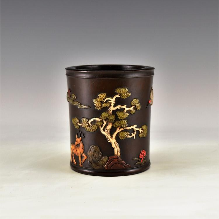 SEMI-PRECIOUS STONES INLAID HUANGHUALI BRUSH POT