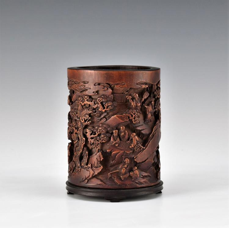 CARVED SCHOLAR IN THE FOREST BAMBOO BRUSH POT