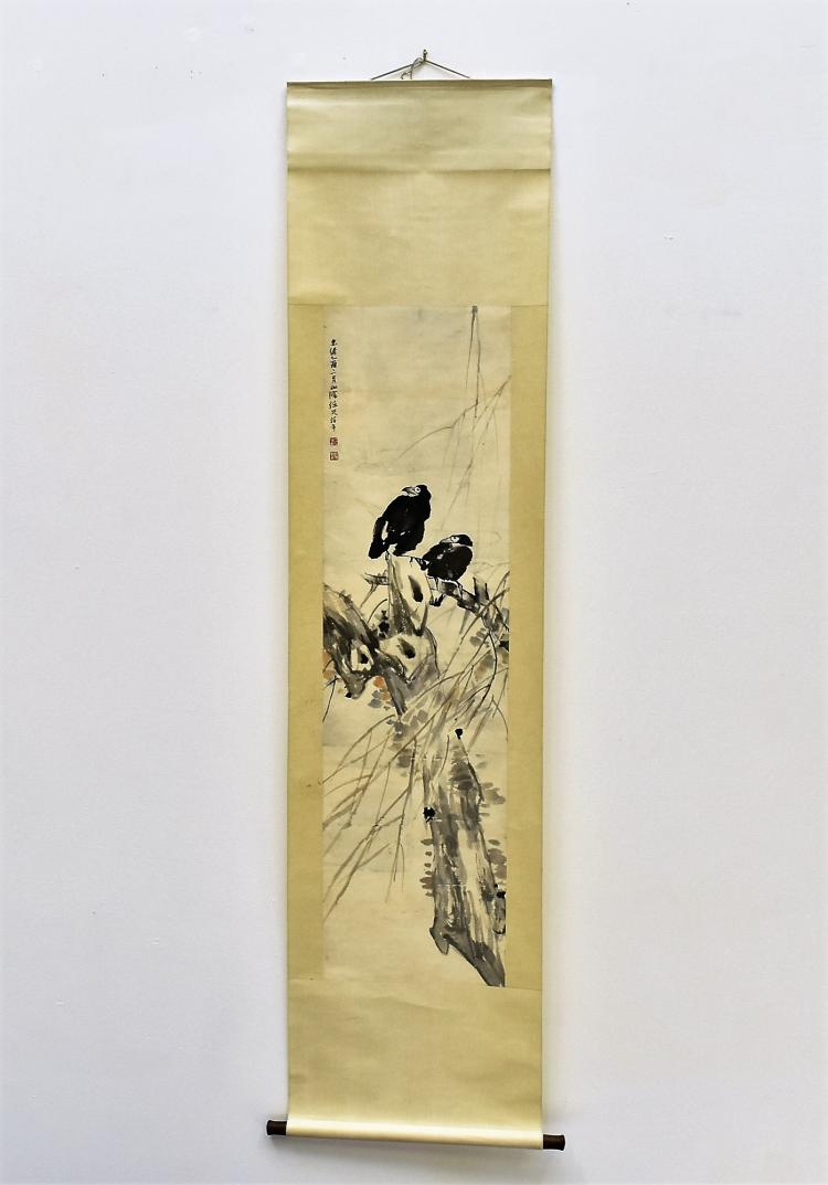 RE BONIAN (1840-1896) CHINESE SCROLL PAINTING OF BIRD