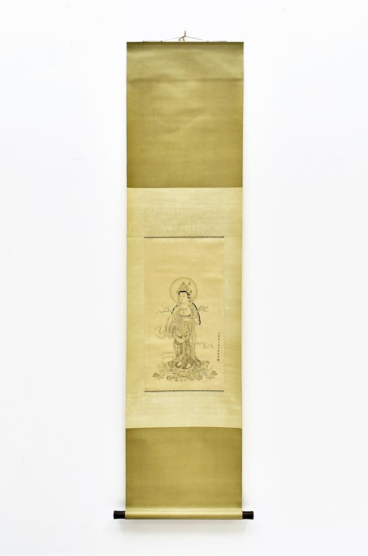 FENG ZHONGLIAN (1918-2001) CHINESE GRAISALLE SCROLL PAINTING OF GUANYIN
