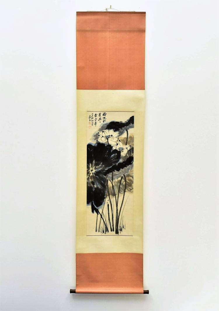 CHINESE SPLASHING-INK SCROLL PAINTING OF LOTUS IN BLOSSOM