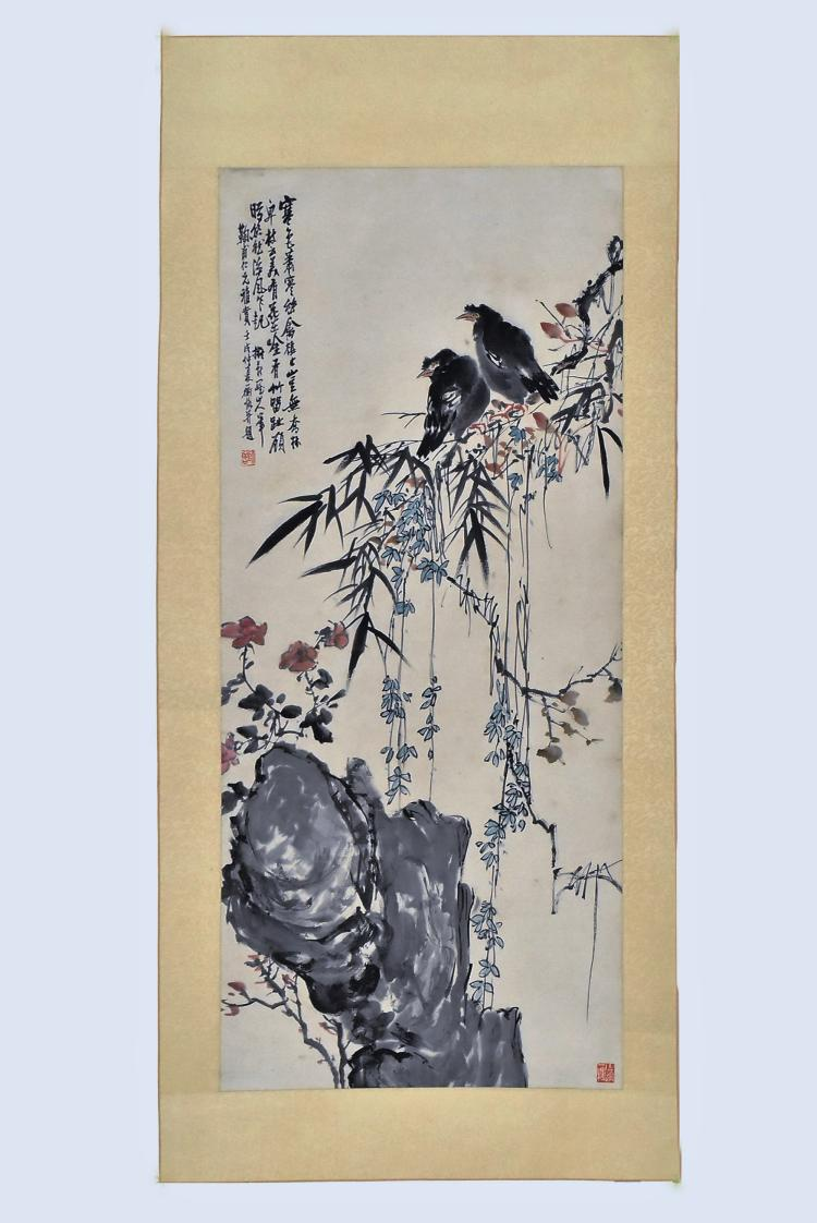 CHINESE SCROLL PAINTING OF BIRD AND FLOWERS