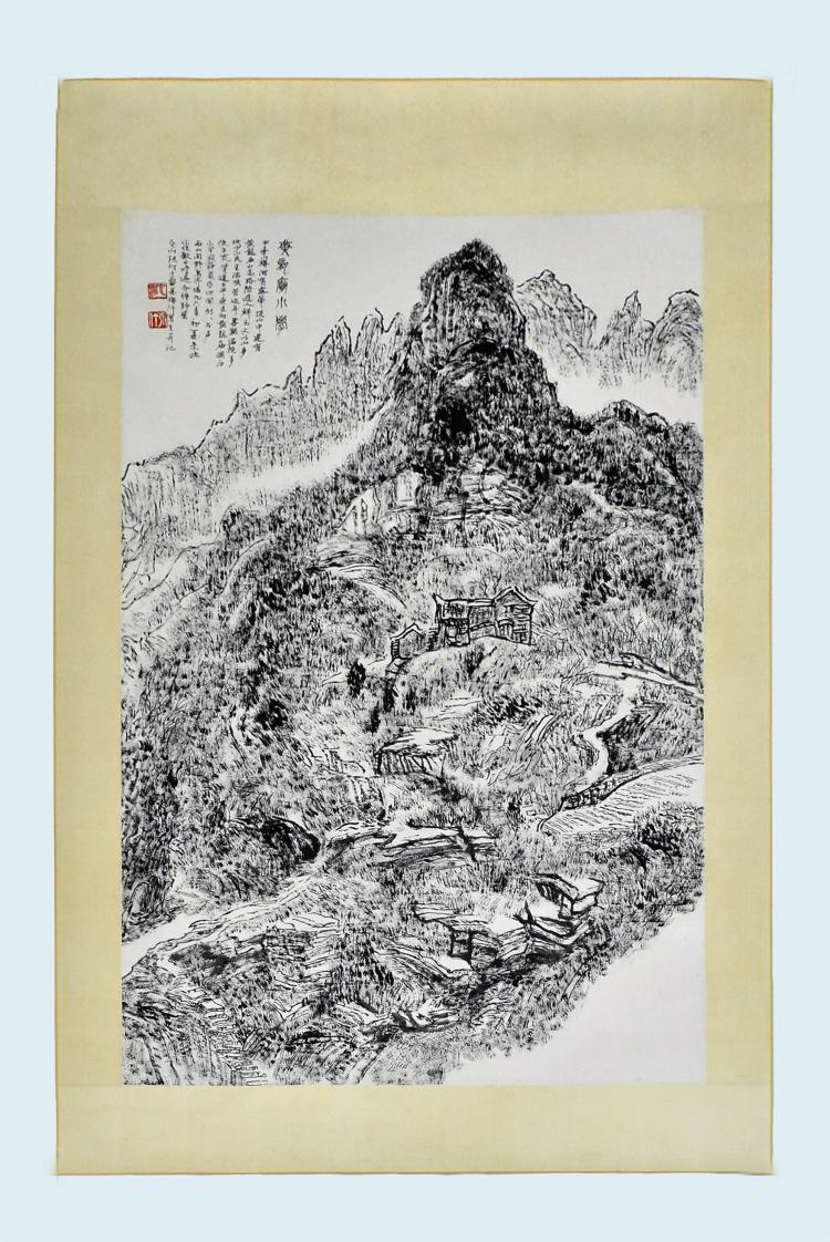 CHINESE GRAISALLE SCROLL PAINTING OF MOUNTAIN LANDSCAPE