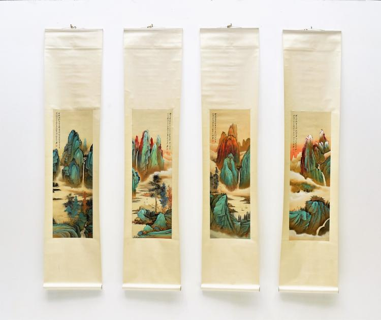 SET OF 4 CHINESE SCROLL PAINTING BRIGHT COLOR LANDSCAPES