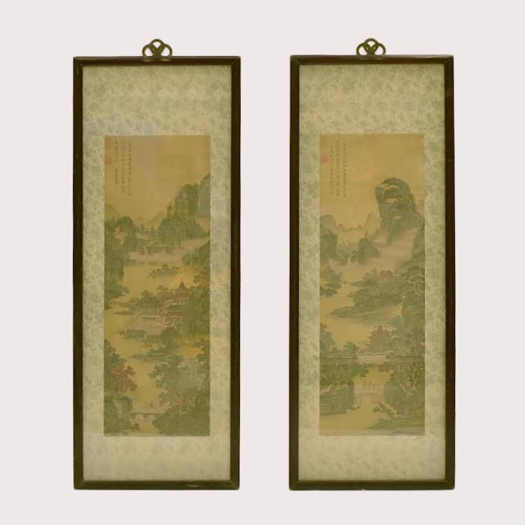 SET OF 2 FRAMED CHINESE PAINTINGS OF PAVILLIONS IN LANDSCAPE SCENE