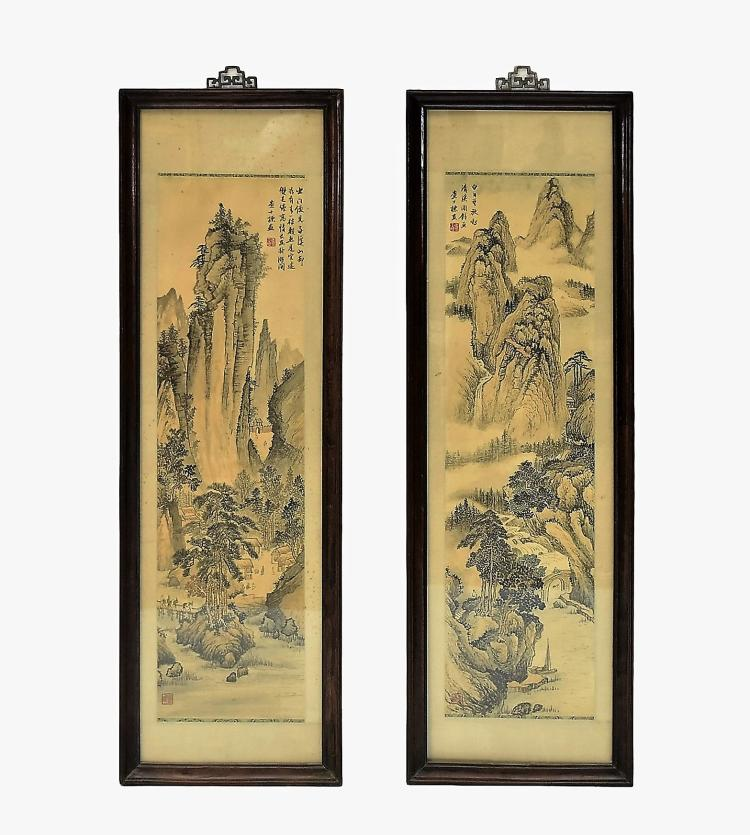 SET OF 2 FRAMED CHINESE PAINTINGS OF VILLAGE ON LANDSCAPE SCENE