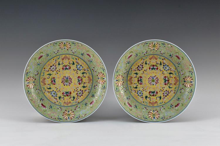 PAIR OF LOTUS AND BATS MOTIF FAMILLE ROSE DISHES
