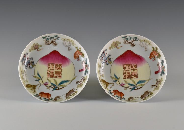 PAIR OF CHINESE 12 ZODIAC  FAMILLE ROSE PORCELAIN DISHES