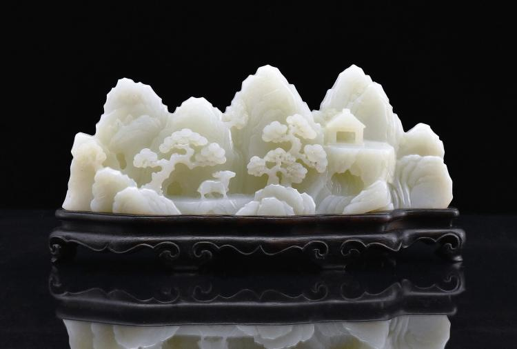 CRAVED WHITE JADE MOUNTAIN LANDSCAPE ON STAND