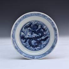 BLUE AND WHITE DRAGON PORCELAIN PLATE