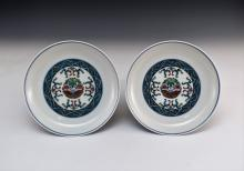 PAIR OF DOUCAI BUTTERFLY MEDALLION PORCELAIN DISHES