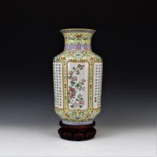 CHINESE SGRAFFIATO-GROUND FAMILLE ROSE VASE ON STAND