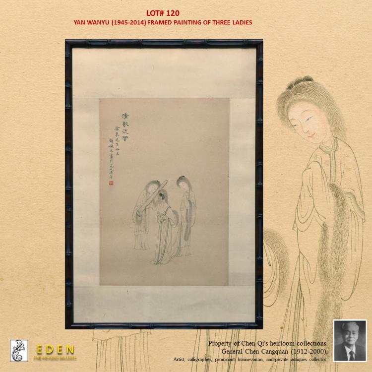 YAN WANYU, FRAMED PAINTING OF THREE LADIES