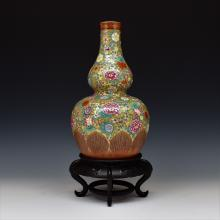 FAMILLE ROSE AND GILT DOUBLE GOURD VASE ON STAND