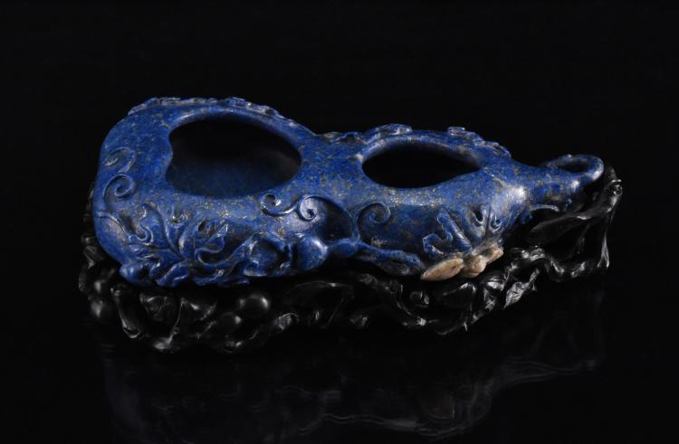 DOUBLE GOURD FORM LAPIS-LAZULI BRUSH WASHER