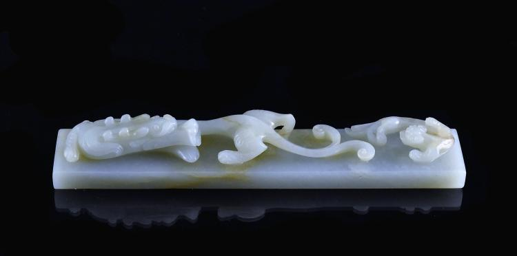 CARVED WHITE JADE DRAGON & TIGER PAPER WEIGHT