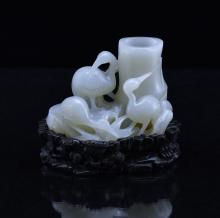 FINE CARVED WHITE JADE OF BAMBOO AND CRANES