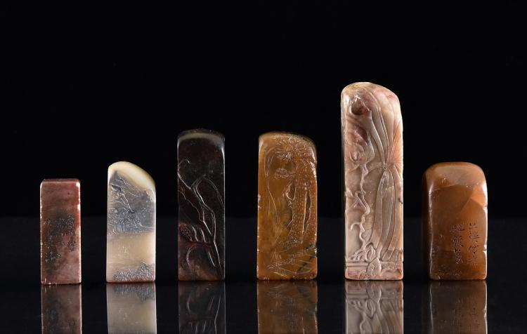 SET OF 6 PCS FINE CARVED SHOUSHAN STONE SEALS