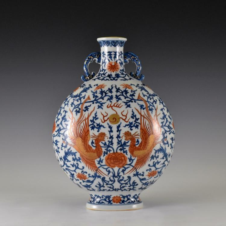 RED & BLUE DOUBLE PHOENIX MOON VASE, BAOYUEPING