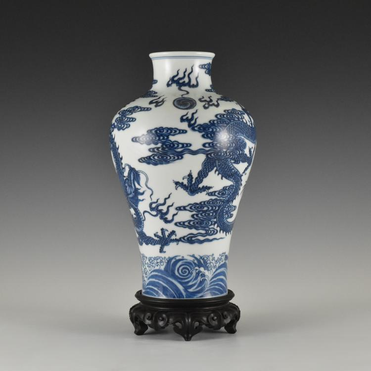 BLUE AND WHITE DRAGON MEIPING VASE ON STAND