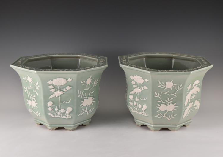 PAIR OF OCTAGONAL PORCELAIN PLANT POTS