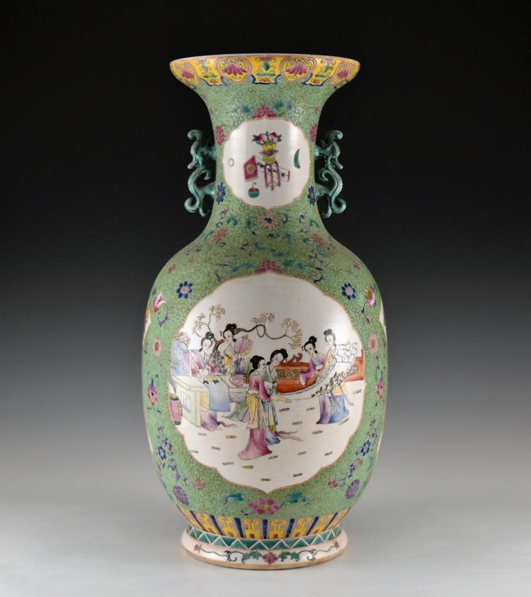 LARGE PORCELAIN BALUSTER VASE WITH DRAGON EARS