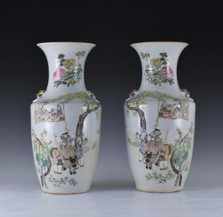 PAIR OF 20TH C. FAMILLE ROSE BALUSTER VASES