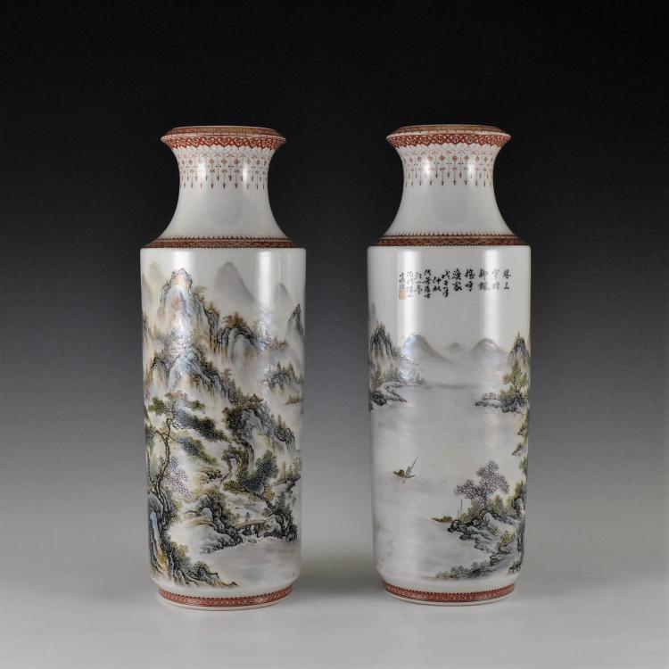 PAIR OF 20TH C CHINESE PORCELAIN VASE