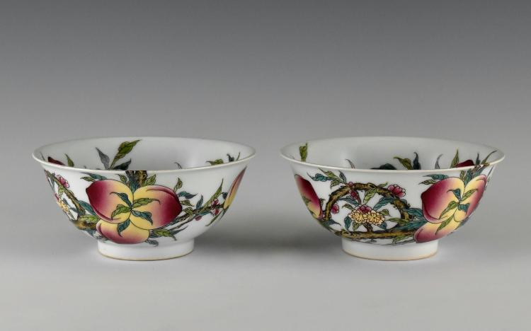 PAIR OF FAMILLE ROSE PEACH PORCELAIN BOWLS,  YONGZHENG MARK