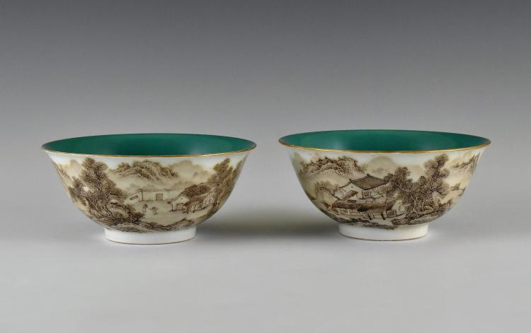 PAIR OF SEPIA WATERSIDE LANDSCAPE PORCELAIN BOWLS, QIANLONG MARK