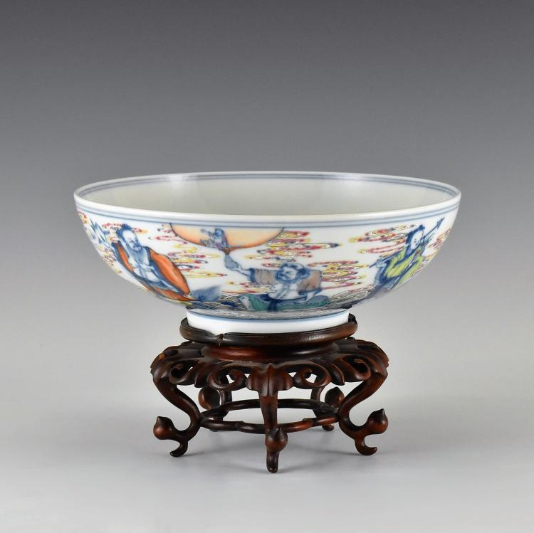 YONGZHENG, 8 IMMORTALS PORCELAIN BOWL ON STAND