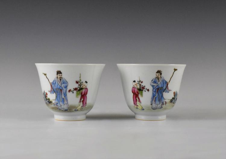 PAIR OF FAMILLE ROSE PORCELAIN WINE CUPS, XIANFENG MARK