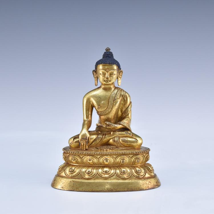 QING GILT BRONZE SEATED BUDDHA