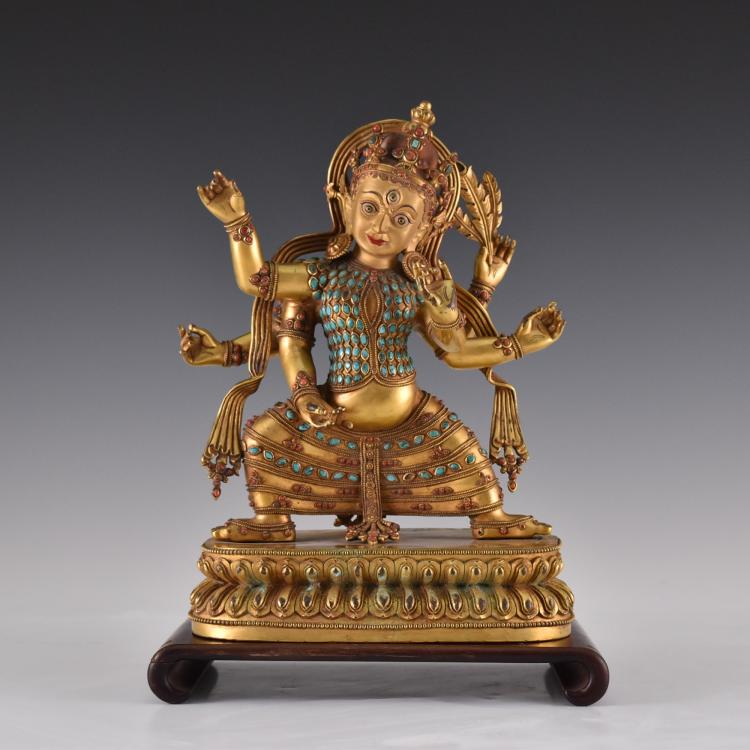 QING GILT & STONES INLAID MULTI ARMS BUDDHA