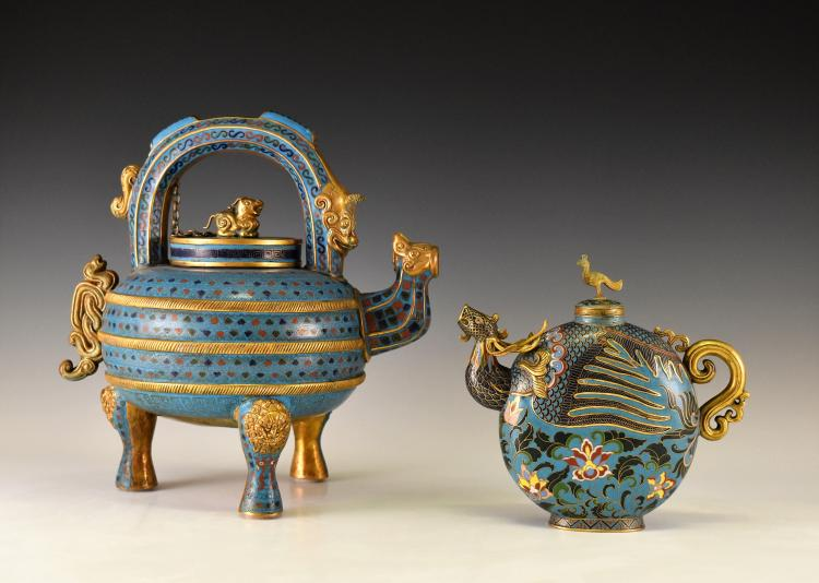 SET OF 2 PCS 20TH C CHINESE CLOISSONE AND GILT TEAPOTS