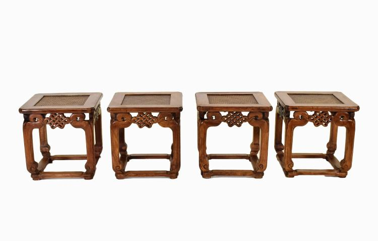SET OF 4PCS OF CHINESE HUANGHUALI STOOLS